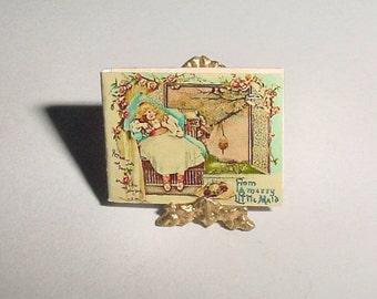 Miniature Book MERRY LITTLE MAID - Raphael Tuck and Sons - Dollhouse Miniature One Inch 1/12 Scale Childrens Nursery Book Accessory