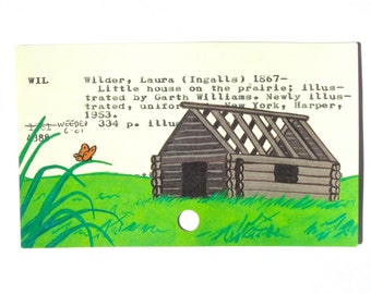 Little House on the Prairie - Print of my painting of a prairie cabin on library card for Little House on the Prairie
