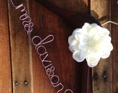 Wedding Dress Hanger, Bride Hanger, Bridal Hanger, Personalized Hanger, Bridesmaid Hangers, Bride Gift, Ivory Flower