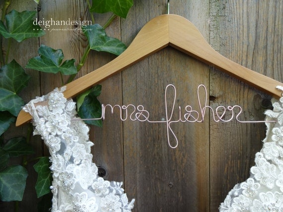 Wedding dress hanger bridal hanger personalized mrs wire for Mrs hangers wedding dress