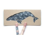 Blank Card: Grey Whale--Laser cut, sponge painted details--nautical--summer
