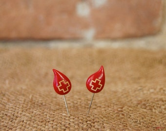 Vintage Blood Droplet Red Cross Lapel Stick Pin - Set of 2 Pins