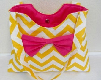 Purse Diaper Bag PDF Pattern with Bow Sewing Chevron Diaper Bag