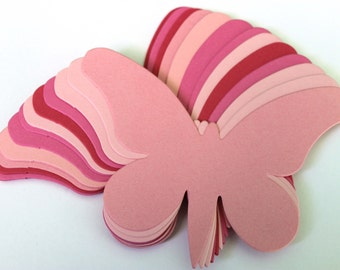 15 Large Pink Die Cut Butterflies