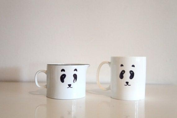 hand painted panda pourer and mug set