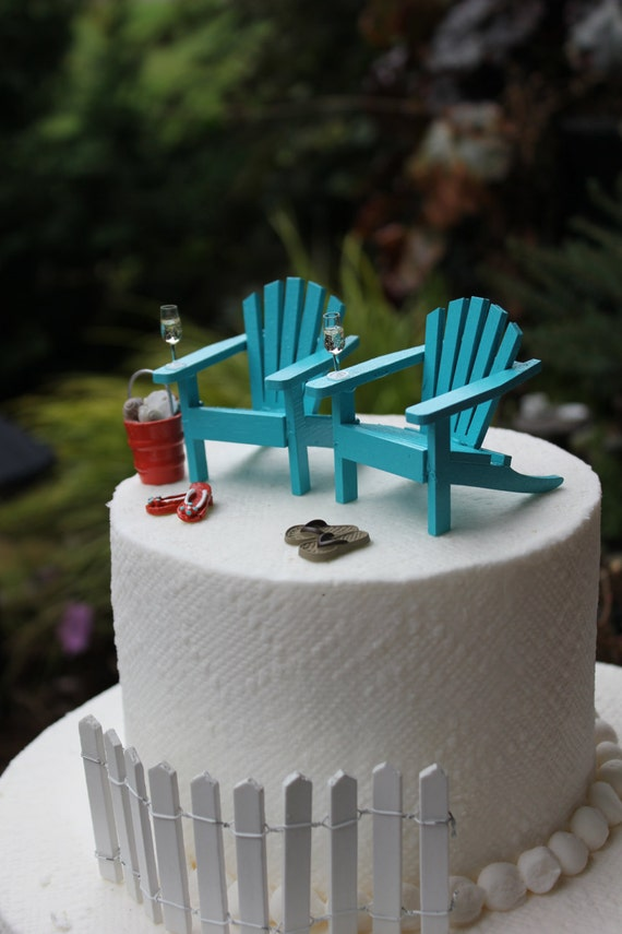 Beach Theme Wedding Cake Topper Classic Adirondack Chairs