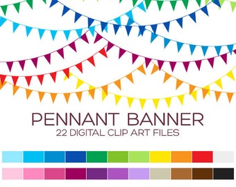 Pennant Banner Flags Clipart for Personal & Commercial Usage - 22 digital banner flags / 3x1.5 inches - A00004