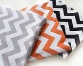 Chevron Cotton Fabric Zig Zag - Grey, Orange or Black - By the Yard 40543