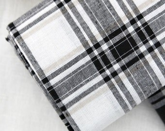Yarn Dyed Cotton Linen Black and White Plaid - White - By the Yard 44473