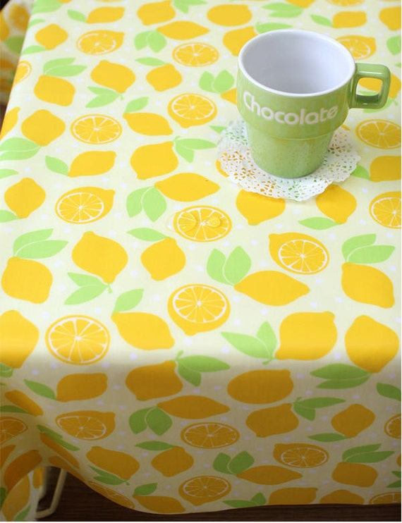 waterproof fabric lemons on yellow by the yard 39425. Black Bedroom Furniture Sets. Home Design Ideas