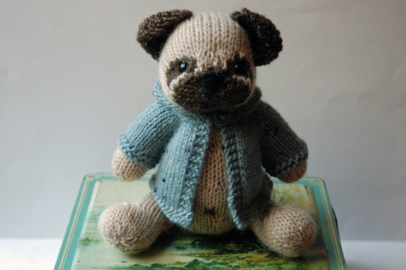 Knitted Pug Puppy Dog Toy with Blue Tweed Wool Hoodie