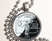 Pennsylvania Art Pendant, Earrings and/or Keychain, USA Quarter Dollar Image, Round Photo Silver and Resin Charm Jewelry