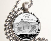 Iowa Art Pendant, Earrings and/or Keychain, USA Quarter Dollar Image, Round Photo Silver and Resin Charm Jewelry