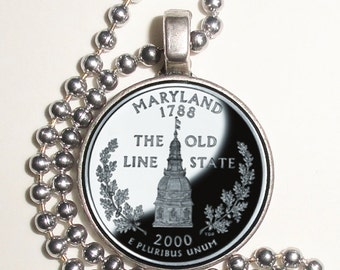 Maryland Art Pendant, Earrings and/or Keychain, USA Quarter Dollar Image, Round Photo Silver and Resin Charm Jewelry