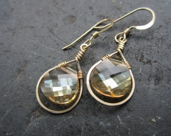 Golden Crystal Wire Wrapped Earrings