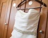 Crystal TRIM for Wedding Dress. Rhinestone Bridal Sash Belt. -Crystals, Beaded. Wedding, Bridesmaids, Party Dress  Bling. Size Medium