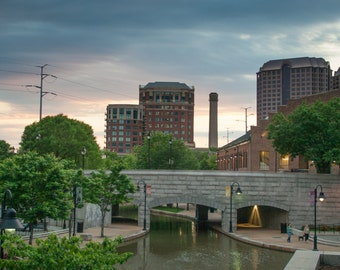 SALE Canal Walk Richmond Virginia Picture, James River Sunset Photo Art, Framed Photography Option
