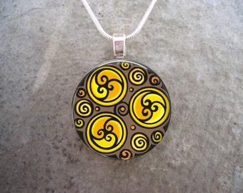 Celtic Jewelry - Glass Pendant Necklace - Celtic Decoration 28 - RETIRING 2017