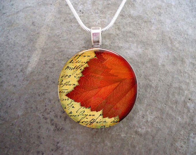 Leaf Jewelry - Glass Pendant Necklace - Autumn Leaves 17 - RETIRING 2017