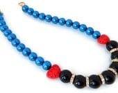 Black Onyx and Blue Pearl Statement Necklace