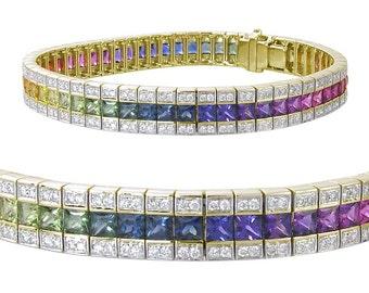 Multicolor Rainbow Sapphire & Diamond Tennis Bracelet 14K Yellow Gold (9.5ct tw) SKU: 411-14K-Yg