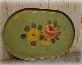 vintage tole metal tray / handpainted floral on vintage green