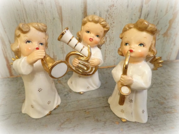 vintage 1950's angel musicians / set of 3 angels / made in japan / tuba trumpet saxophone