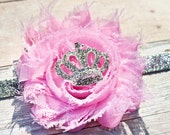Single light pink shabby headband on silver glitter elastic with a metal rhinestone crown centerpiece