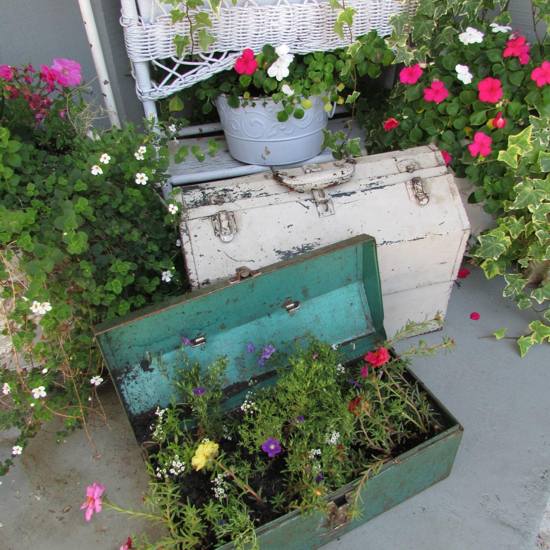 Kitchen Garden Box With Wire Top: SALE Vintage Metal Tool Box Great Shabby Chic Garden Planter
