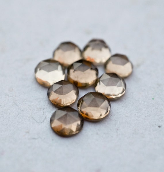 5mm Smoky Quartz faceted cabochon. rose cut dark grey gemstone quartz cabs smoky quartz cabochons.mocha brown