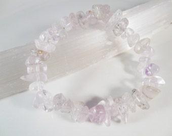 Kunzite Stretch Bracelet Nugget Bead Icy Lavender Pink Beads 9mm x 5mm