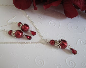 Red Bridesmaid Necklace and Earring Set/Red Wedding/Red Pearl Bracelet/Fall Wedding/Red Teardop Earrings.