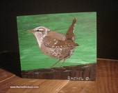 Bewick's Wren Ready to Take Flight by artist Rachel Dickson original acrylic paintings on wood