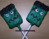 Krispie Treats covered in chocolate - Frankenstein  - Kids party favors - Halloween favors - Christmas stocking stuffers - Christmas favors