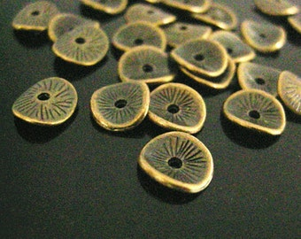 24pc 9.5x9mm antique bronze finish metal bead/spacers-7619