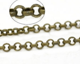 5 feet 3.8mm antique bronze finish rolo chain lead nickel free-7647