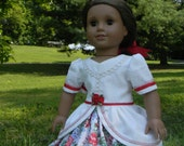 """18 inch Doll Gown Civil War Style gown with roses for you American Girl or other 18"""" dolls skirt and top two piece set"""
