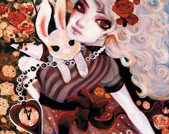 Gothic ALICE In Wonderland Fantasy Art SIGNED Print 8x10 by Natasha Wescoat