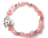 Sweet Strawberry Quartz Chip Bracelet with Silver Heart Toggle Clasp