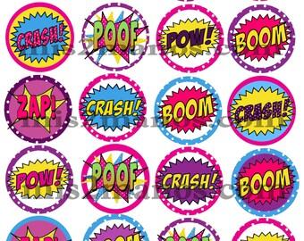 Super hero comic book cupcake toppers Printable DIY Set of 20 Instant Download Pink