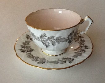 Vintage Teacup and Saucer in Fine Bone China in Aynsley White gold and soft pastel pink