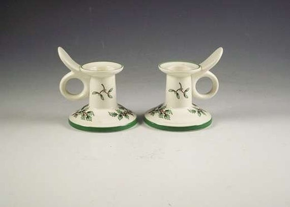 Spode Christmas Candle Holders