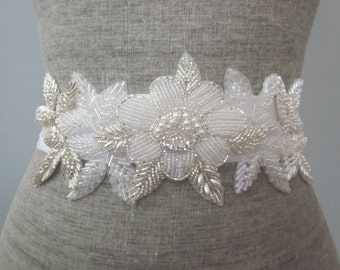 Beaded Floral Leaf Wedding Sash / Belt, Silver Pearl Rhinestone Flowers Sash