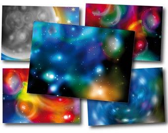 Planet, space, galaxy label Digital Collage 2,5x3,5 inch Thank you Gift Tags Jewelry holder Paper Craft Picture Frames Postcard 235