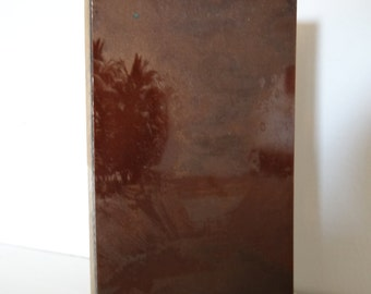 Vintage print block, copper, landlocked water scene, 1960s