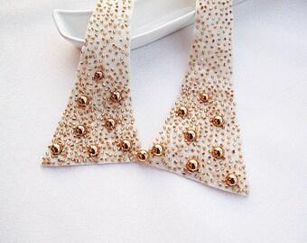 Beige  Peter Pan Collar-Golden Yellow Embroidered- Studded Collar, Women Accessories, Geometric Cutting