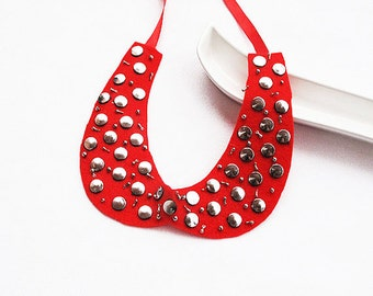 Red Peter Pan Collar, Handmade, Collar Necklace, Women Accessories