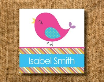 Bird Girl Gift Tags or Calling Cards, Girl Gift Tags, Strips Gift Tags