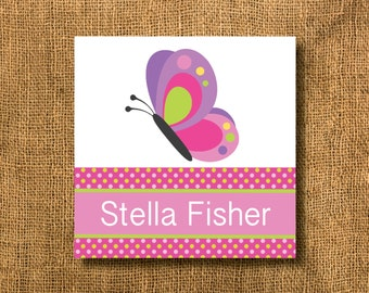 Butterfly Polka Dots Girl Gift Tags or Calling Cards, Butterfly Gift Tags, Polka Dots Gift Tags, Pink Gift Tags
