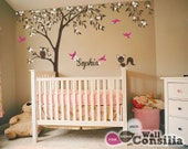 """Baby Nursery Wall Decals - Tree Wall Decal - Tree Decal - Owl and Fox Decal - Large: approx 121"""" x 95"""" - KC025"""